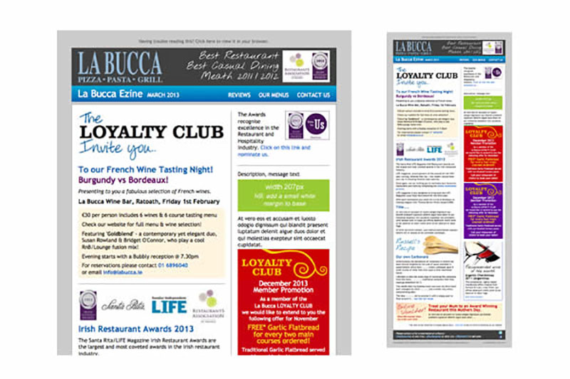 Newsletter HTML email to promote the wide range of offers and events for the LaBucca Restaurants.