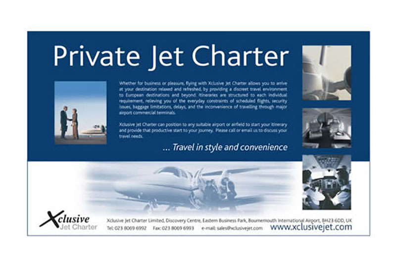 Xclusive Jet Charter : Half page promotional advertising.