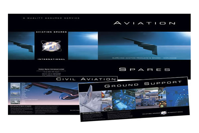Aviation Spares International: 16pp A4 landscape brochure for Aviation Spares International - logistics and supplier of unique aircraft parts to both civil and military airforces.