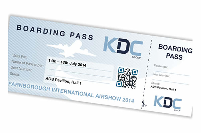 Event invites, sent out as imitation air flight tickets - for the Farnborough Airshow.